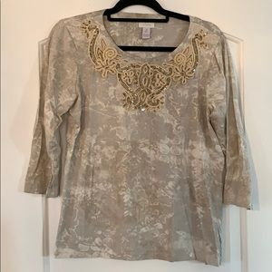 Chicos gold and tan top